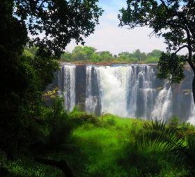 Blick aus dem Regenwald auf die Victoria Falls