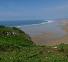 Blick auf den Rhossili Beach auf Wales Halbinsel Gower