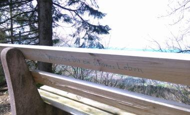 Eine Bank mit einer Botschaft auf der Rückseite: Ich wünsche dir ein schönes Leben
