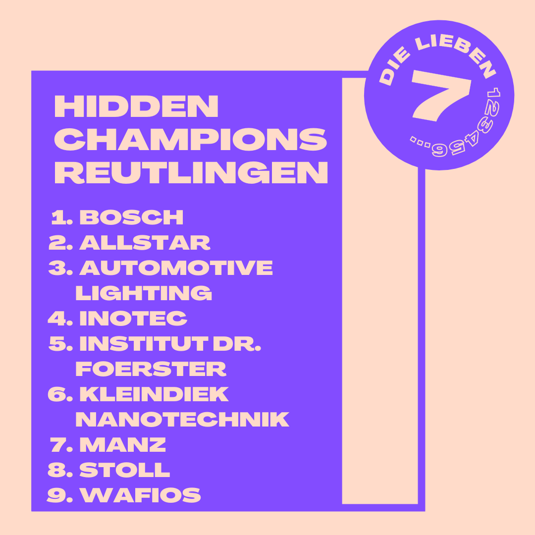 Sieben … äähh … neun Hidden Champions aus Reutlingen